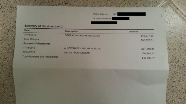 hospital bill appendicitis