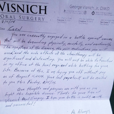 woman with cancer gets layoff letter from boss