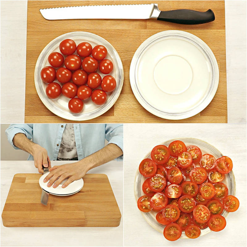 cutting cherry tomatoes hack