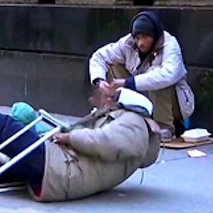 homeless man falling prank