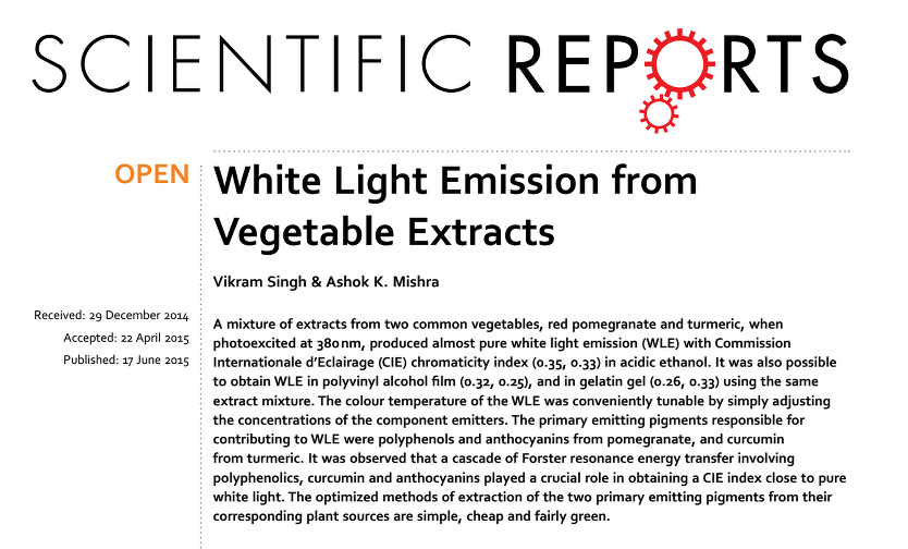 white light emission vegetable extracts