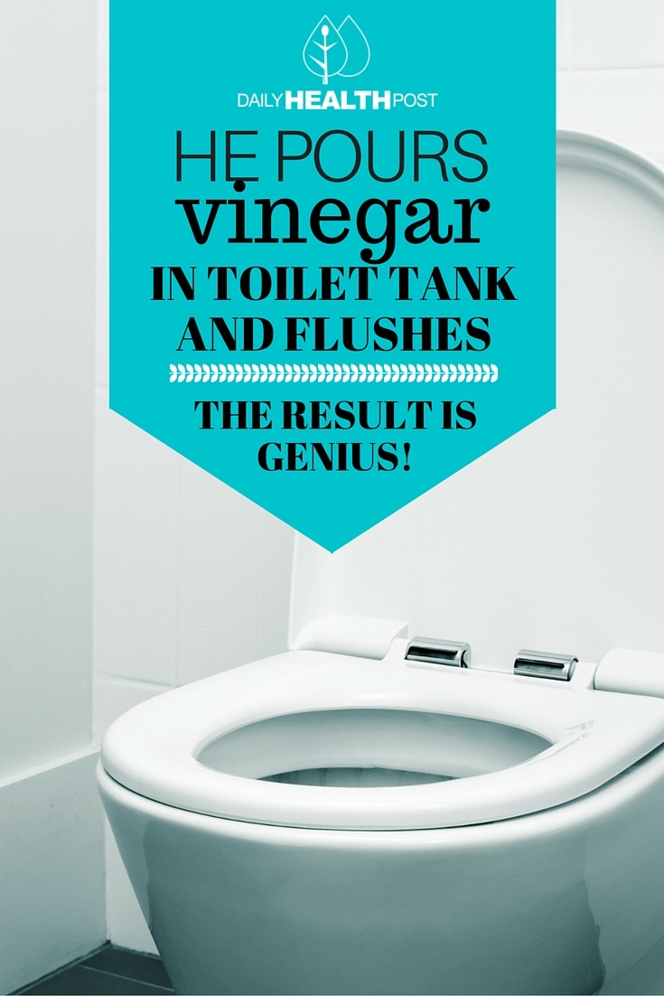 Pours Vinegar In His Toilet Tank and Flushes. The Result is Genius!