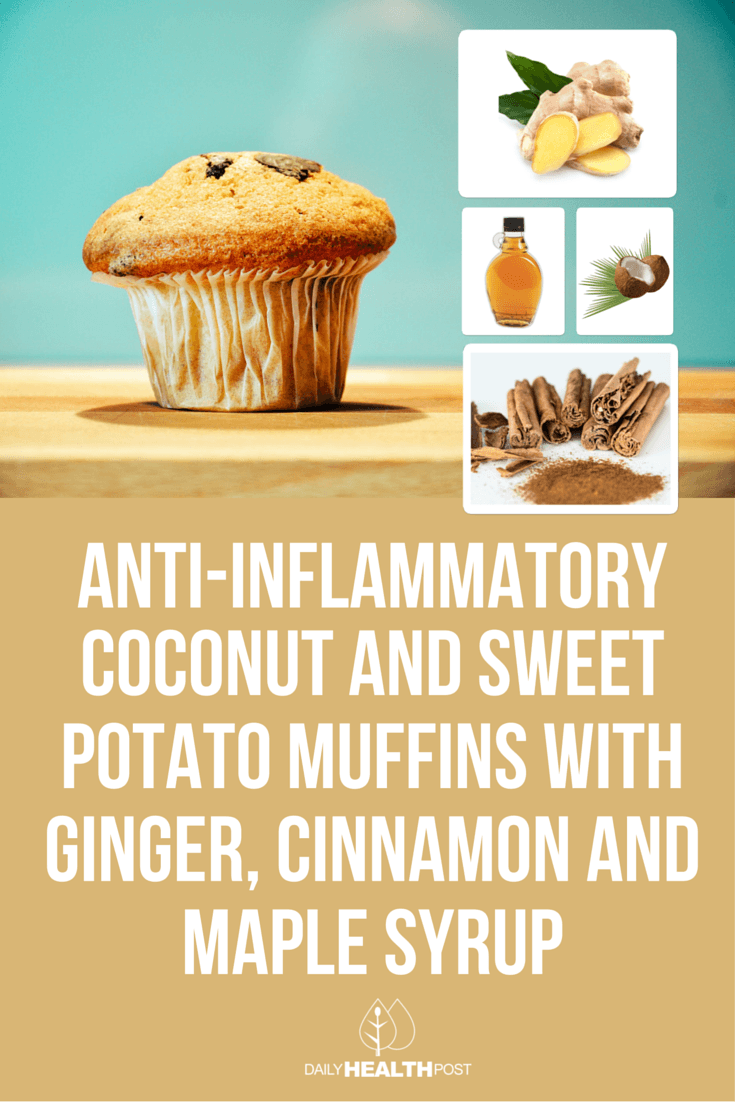 01 Anti-Inflammatory Coconut and Sweet Potato Muffins with Ginger, Cinnamon and Maple Syrup