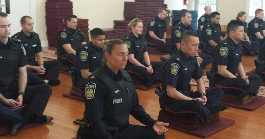 police officers meditate