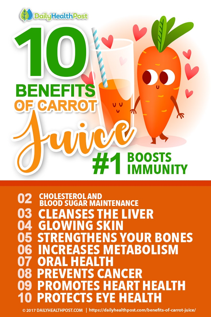 carrot juice health benefits Did you know that eight ounces of carrot juice can contain as much as 800% of your daily recommended dosage of vitamin a vitamin a is essential and necessary for tissue growth, especially within the bones.